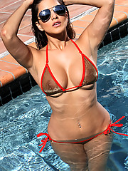 Sunny Leone Sheer Gold and Red Bikini in the Pool